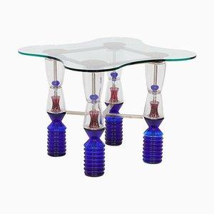 Mesa de juegos vintage de cristal de Van Praet & Val-Saint-Lambert