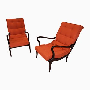 Walnut Lounge Chairs with Removable Pillows, 1958, Set of 2