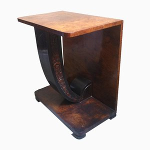 Small Art Deco Walnut Console Table, 1920s
