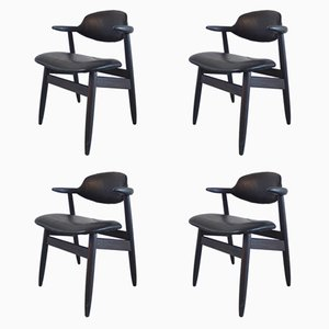 Cowhorn Stühle aus Schwarzem Leder von Tijsseling für Hulmefa, 1950er, 4er Set