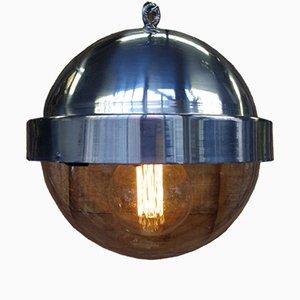 Lampada a sospensione vintage sferica in alluminio, anni '50