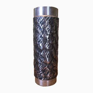 Brutalistische Vase aus Graviertem Stahl, 1970er