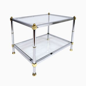 Mid-Century Modern Chrome and Brass Side Table, 1960s
