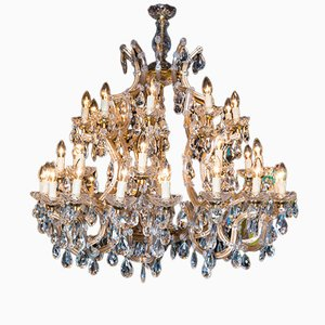 Lámpara de araña Maria Theresa italiana vintage grande de cristal