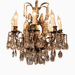 Lámpara de araña vintage grande de bronce