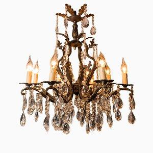 Lámpara de araña francesa vintage de bronce