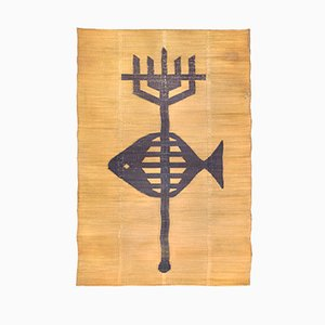 Large Straw Rug with Poseidon Trident Motif, 1950s