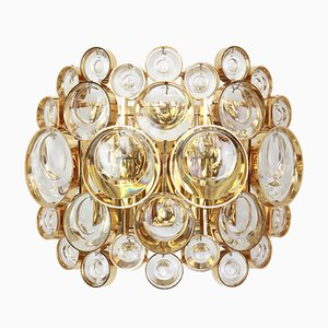 Golden Gilded Brass & Crystal Sconces from Palwa, 1960s, Set of 2