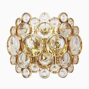 Vergoldete Wandlampen aus Messing & Kristall von Palwa, 1960er, 2er Set