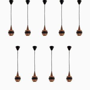 Lámparas de techo escandinavas, años 60. Juego de 9