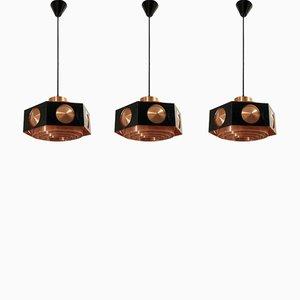 Lámparas de techo Mid-Century de TR & Co., años 60. Juego de 3