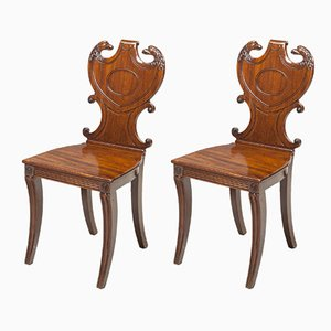 19th Century English Regency Hall Chairs, 1810s, Set of 2