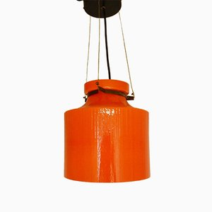 Rippled Structure Orange Glass Pendant Light, 1970s