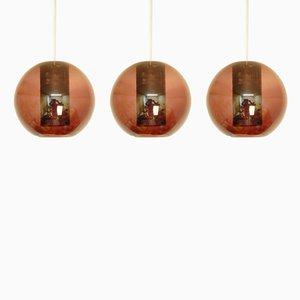 Lámparas colgantes modelo NT63/E00 vintage de vidrio transparente morado de Philips. Juego de 3