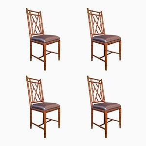 Chaises en Faux Bambou, 1970s, Set de 4