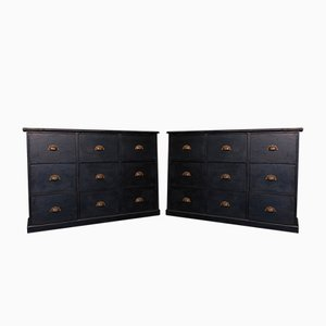 Antique Black Cabinets, Set of 2