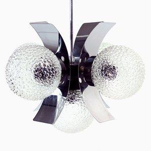 Deckenlampe aus Chrom und Glas, 1970er