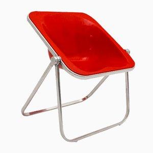 Silla plegable Plona en rojo de Giancarlo Piretti para Castelli, 1969