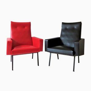 Vintage French Red & Black Lounge Chairs, 1950s, Set of 2