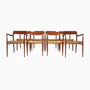 Dänische Mid-Century Modell 56 & 75 Stühle von Niels O. Møller, 8er Set