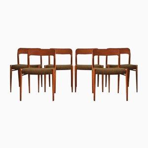 Dänische Mid-Century Modell 75 Teak Stühle von Niels O. Møller für J.L. Møllers, 6er Set