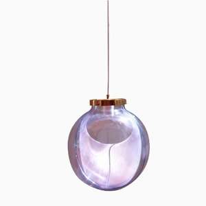 Large Mid-Century Membrane Murano Glass Globe Pendant Lamp by Toni Zuccheri for Venini