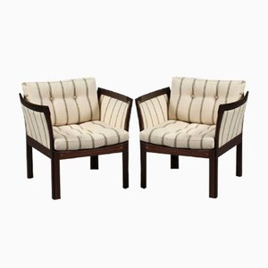 Plexus Lounge Chairs in Mahogany & White Fabric by Illum Wikkelsø for CFC Silkeborg, 1960s, Set of 2