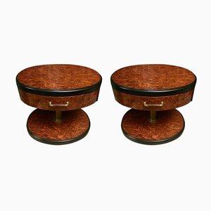 Mesitas de noche vintage de madera nudosa. Juego de 2