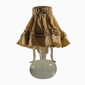 Lámpara de mesa italiana vintage con pantalla de seda de Barovier & Toso Murano