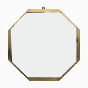 Achteckiger Moderner Italienischer Spiegel mit Messingrahmen, 1960er
