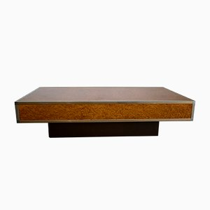 Mesa de centro de madera nudosa de arce, años 70