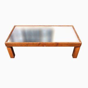 Mesa de centro vintage de madera con tablero de espejo negro