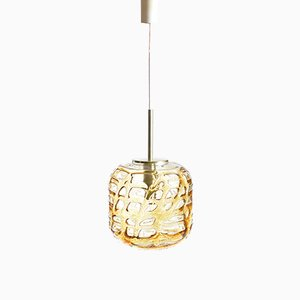 East German Amber Glass Ceiling Light from Doria, 1970s