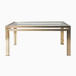 Tavolino da caffè quadrato dorato di Pierre Vandel, anni '70