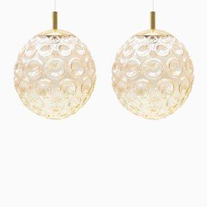 Lámpara colgante grande de cristal burbuja, años 60. Juego de 2