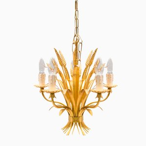 Vintage Italian Gilt Sheaf of Wheat Pendant Lamp