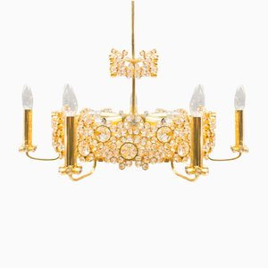 Large Gilt Bronze & Crystal Glass Chandelier from Palwa, 1970s