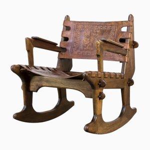 Rocking Chair Vintage en Cuir par Angel I. Pazmino