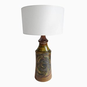 Large Swedish Ceramic Brutalist Studio Table Lamp, 1970s