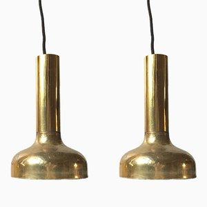 Lampes à Suspension Mid-Century en Laiton, Suède, 1960s, Set de 2