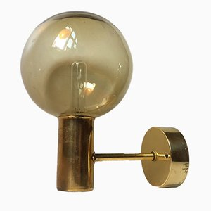 Brass and Smoked Glass Globe Sconce by Hans Agne Jakobsson for Markaryd, 1960s