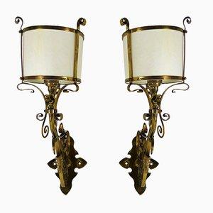 Lámparas de pared inglesas Arts & Crafts de latón, década de 1900. Juego de 2