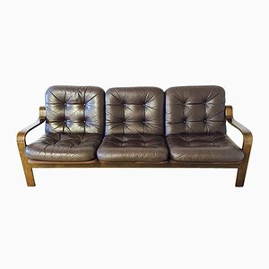 Dark Brown Leatherette Sofa, 1970s