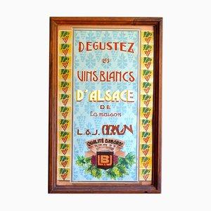 Cartel publicitario de marca de vinos Art Déco vintage
