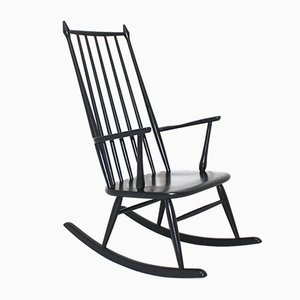 Scandinavian Black Rocking Chair, 1960s