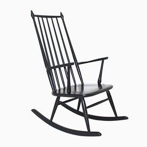 Scandinavian Black Rocking Chair, 1960s