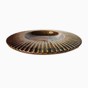Plato hondo Mid-Century de cerámica estriada policromada de Mette Kjær para Holmstrup, años 70