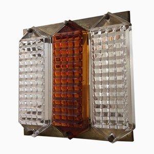 Aplique Mid-Century de vidrio y latón de Orrefors, años 60