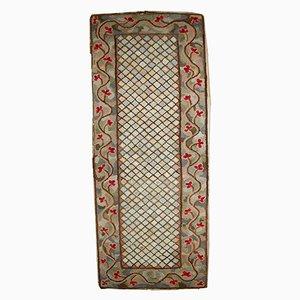Alfombra de pasillo americana antigua hecha a mano, década de 1880