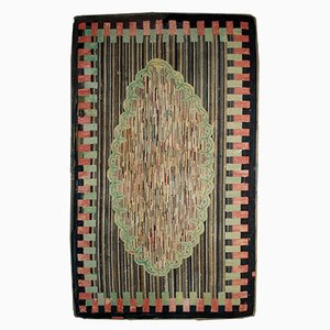 Antique Handmade American Hooked Rug, 1880s